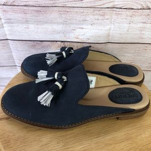 Sperry Seaport Levy Tassel Navy Mules Size 6.5